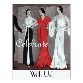 Fiesta retro del art déco del vintage elegante invitación 10,8 x 13,9 cm