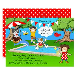 Fiesta retro del chapoteo de la piscina del patio invitación 12,7 x 17,8 cm