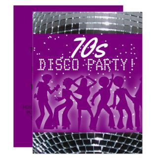 Fiesta retro del tema de los años 70 de la púrpura invitación 10,8 x 13,9 cm