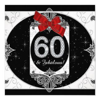 Fiesta roja y negra de la mujer la 60.a de invitación 13,3 cm x 13,3cm