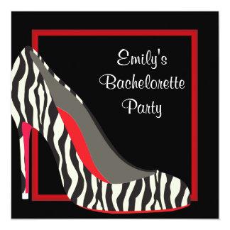 Fiesta rojo de Bachelorette de los zapatos del Invitación 13,3 Cm X 13,3cm