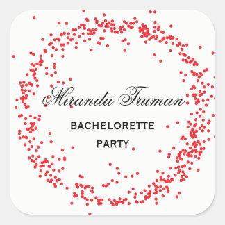 Fiesta rojo de Bachelorette del confeti - pegatina