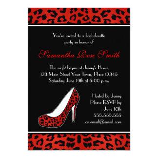 Fiesta rojo de Bachelorette del talón del Invitación 12,7 X 17,8 Cm