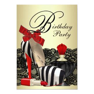 Fiesta rojo de la cebra de la cebra de los zapatos invitación 12,7 x 17,8 cm