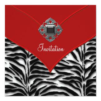 Fiesta rojo de Zerbra Invitación 13,3 Cm X 13,3cm