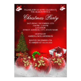 Fiesta rojo del árbol de navidad de las chucherías invitación 12,7 x 17,8 cm