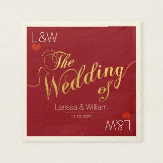 fiesta rojo del día del amor del boda servilletas de papel