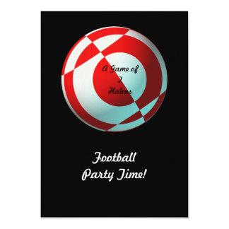 Fiesta rojo del fútbol (añada la foto, cambian invitación 12,7 x 17,8 cm