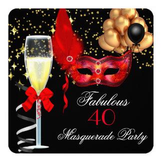 Fiesta rojo fabuloso de la mascarada del negro del invitación 13,3 cm x 13,3cm