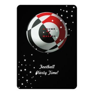 Fiesta rojo y negro del fútbol (foto) invitación 12,7 x 17,8 cm