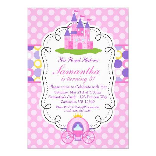 Fiesta rosada de la princesa cumpleaños del lunar anuncios personalizados