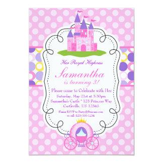 Fiesta rosada de la princesa cumpleaños del lunar invitación 12,7 x 17,8 cm