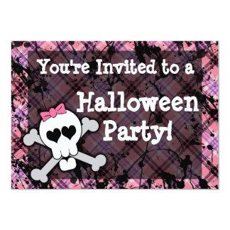 Fiesta rosado de Halloween del cráneo del chica Invitación 12,7 X 17,8 Cm