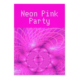 Fiesta rosado de neón invitación 12,7 x 17,8 cm