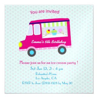 Fiesta rosado del camión del helado invitación 13,3 cm x 13,3cm