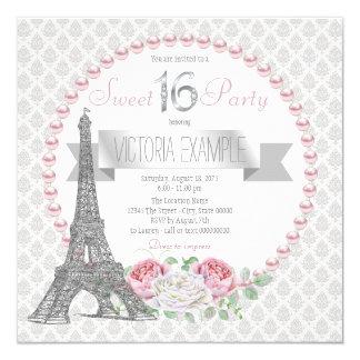 Fiesta rosado del dulce 16 de París de la perla Invitación 13,3 Cm X 13,3cm