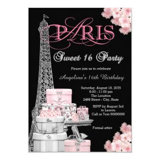 Fiesta rosado del dulce 16 de París Invitación 12,7 X 17,8 Cm