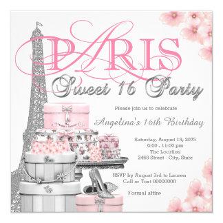 Fiesta rosado del dulce 16 de París Invitación 13,3 Cm X 13,3cm