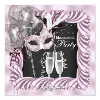 Fiesta rosado negro de la mascarada de Champán Invitación 13,3 Cm X 13,3cm