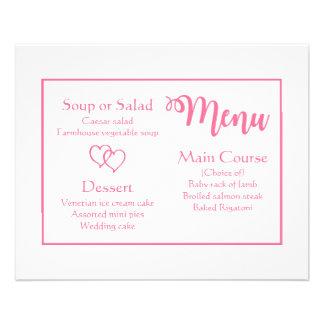 Fiesta rosado y blanco del menú del boda