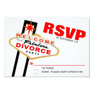 Fiesta RSVP del divorcio de Las Vegas Comunicado Personalizado