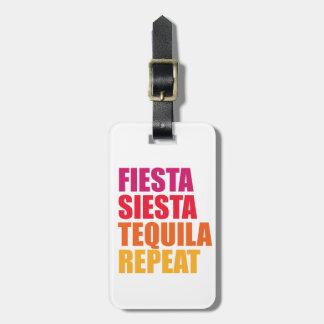 Fiesta, siesta, vacaciones de Bachelorette del Etiqueta Para Maletas