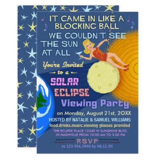 Fiesta Sun retro divertido del eclipse solar que Invitación 12,7 X 17,8 Cm