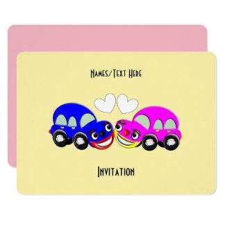Fiesta temático de la diversión del coche lindo invitación 12,7 x 17,8 cm