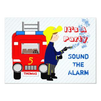 Fiesta temático de los niños del coche de bomberos invitación 11,4 x 15,8 cm