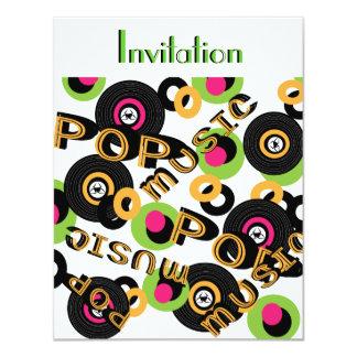 Fiesta temático Invitatiuons del música pop retro Invitación 10,8 X 13,9 Cm