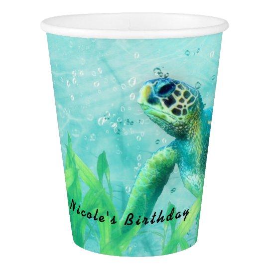 Fiesta tropical elegante del arte de la playa del vaso de papel