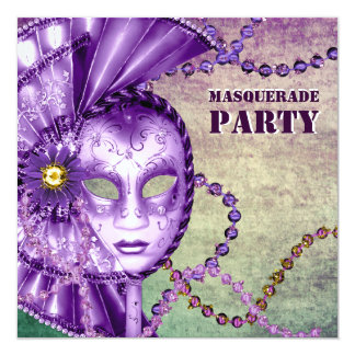 Fiesta verde púrpura de la mascarada de las gotas invitación 13,3 cm x 13,3cm