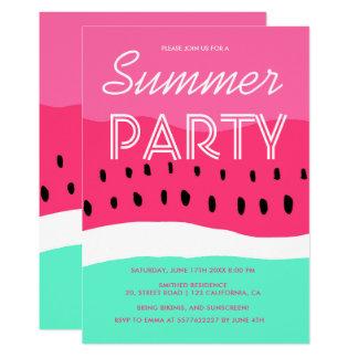 Fiesta verde rosado del verano de la sandía de la invitación 12,7 x 17,8 cm