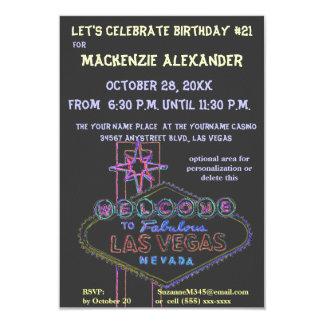 Fiestas de cumpleaños del casino de Las Vegas Invitación 8,9 X 12,7 Cm
