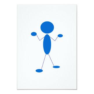 Figura azul del palillo que encoge hombros anuncios personalizados