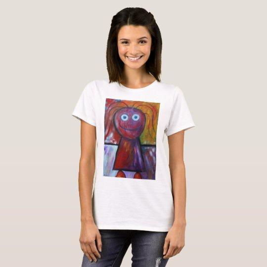 Figura camiseta del palillo del dibujo-chica de