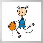 Figura camisetas del palillo del jugador de básque poster