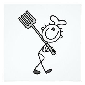 Figura cocinero del palillo con la bifurcación invitación 13,3 cm x 13,3cm