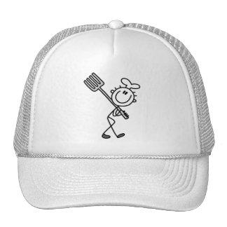 Figura cocinero del palillo con las camisetas y lo gorras de camionero