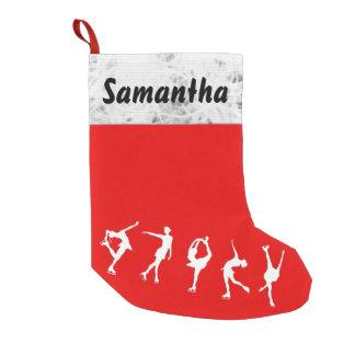 Figura de encargo media del patinador calcetín de navidad pequeño