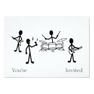 Figura del palillo de la banda de rock invitación 12,7 x 17,8 cm