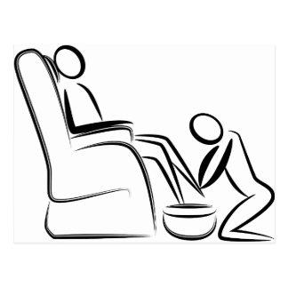 Figura del palillo del masaje del pie postal
