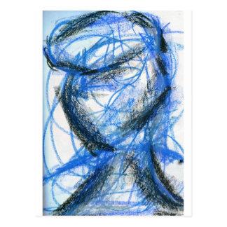 Figura en negro y azul postal