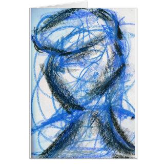 Figura en negro y azul tarjeta de felicitación