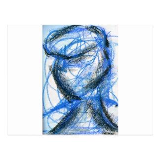 Figura en negro y azul tarjeta postal