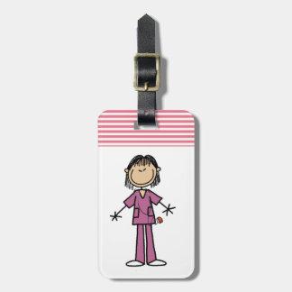 Figura femenina asiática enfermera del palillo etiquetas para maletas