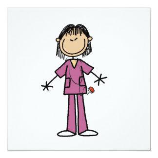 Figura femenina asiática enfermera del palillo comunicado personalizado