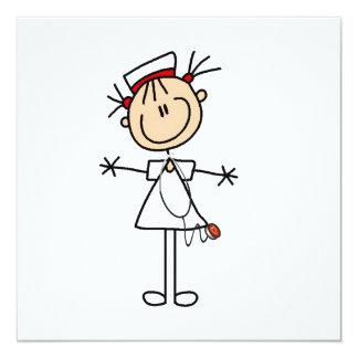 Figura femenina blanca enfermera 2 del palillo invitación 13,3 cm x 13,3cm