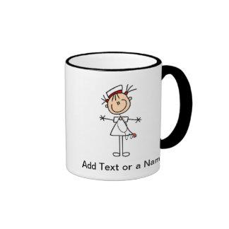 Figura femenina blanca regalos del palillo de la e tazas de café