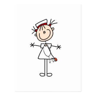 Figura femenina blanca regalos del palillo de la postal